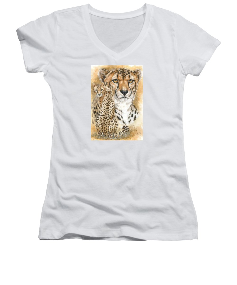 Cheetah Women's V-Neck (Athletic Fit) featuring the mixed media Nimble by Barbara Keith