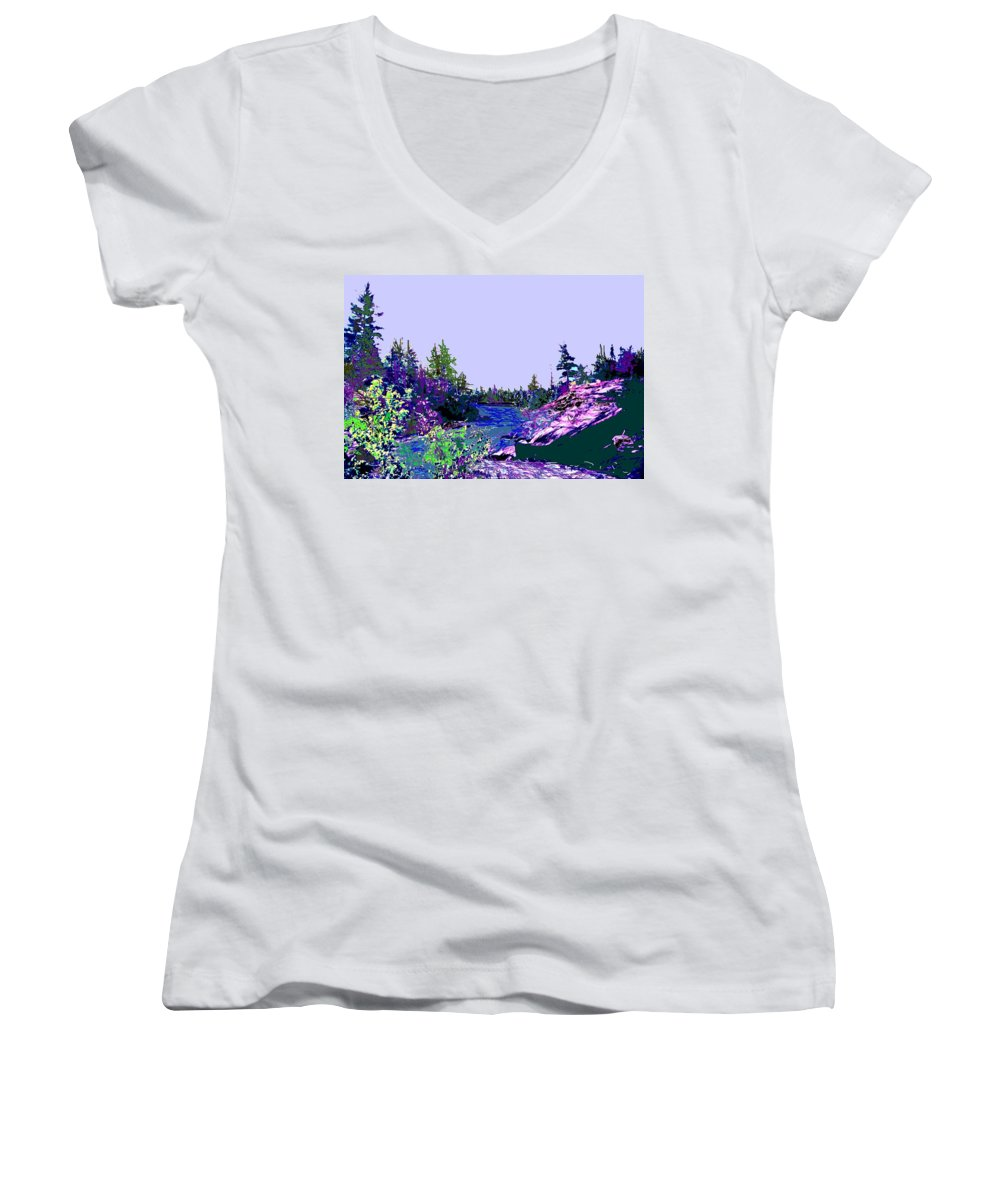 Norlthern Women's V-Neck (Athletic Fit) featuring the photograph Northern Ontario River by Ian MacDonald