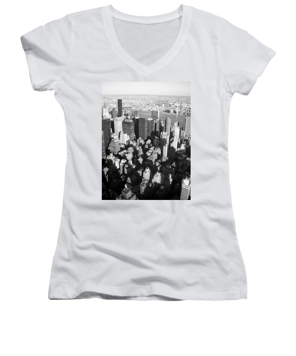Nyc Women's V-Neck T-Shirt featuring the photograph Nyc Bw by Anita Burgermeister