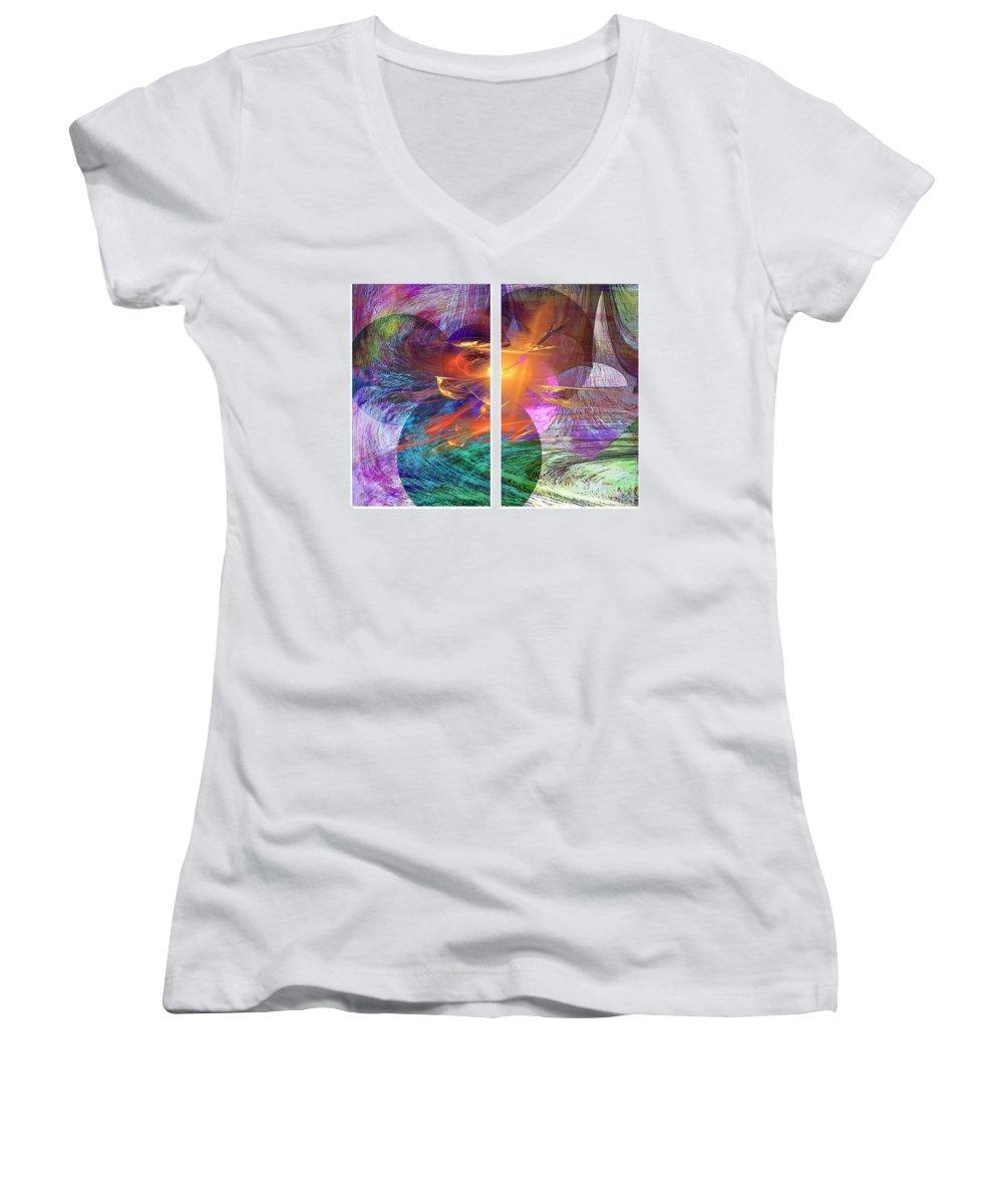 Ocean Fire Women's V-Neck T-Shirt featuring the digital art Ocean Fire by John Beck