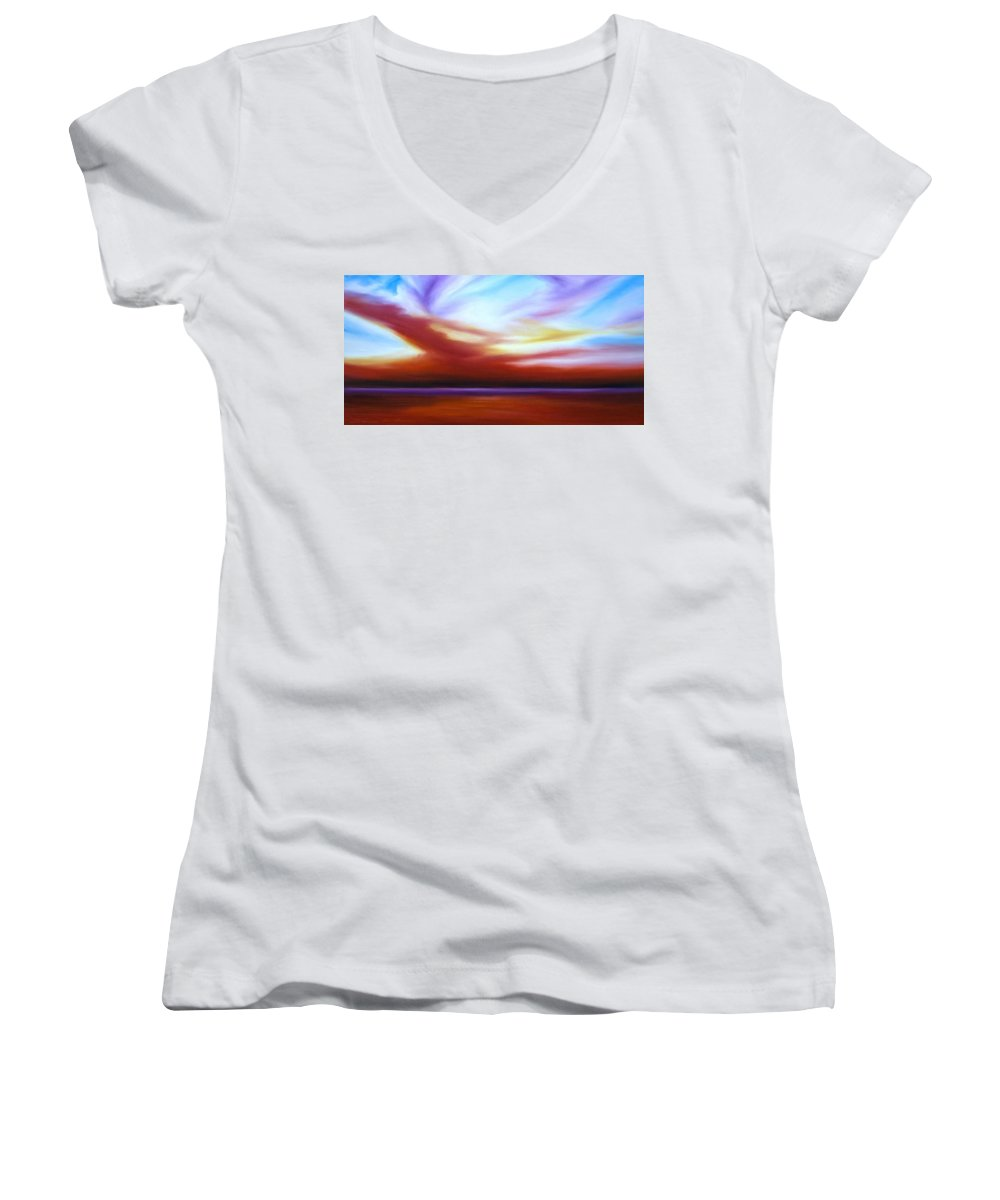 Skyscape Women's V-Neck (Athletic Fit) featuring the painting October Sky IIi by James Christopher Hill
