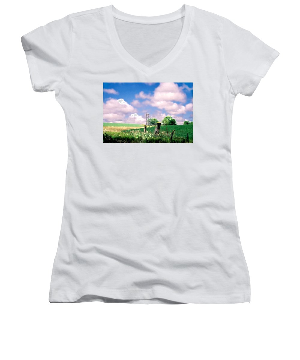 Landscape Women's V-Neck T-Shirt featuring the photograph Off The Grid by Steve Karol