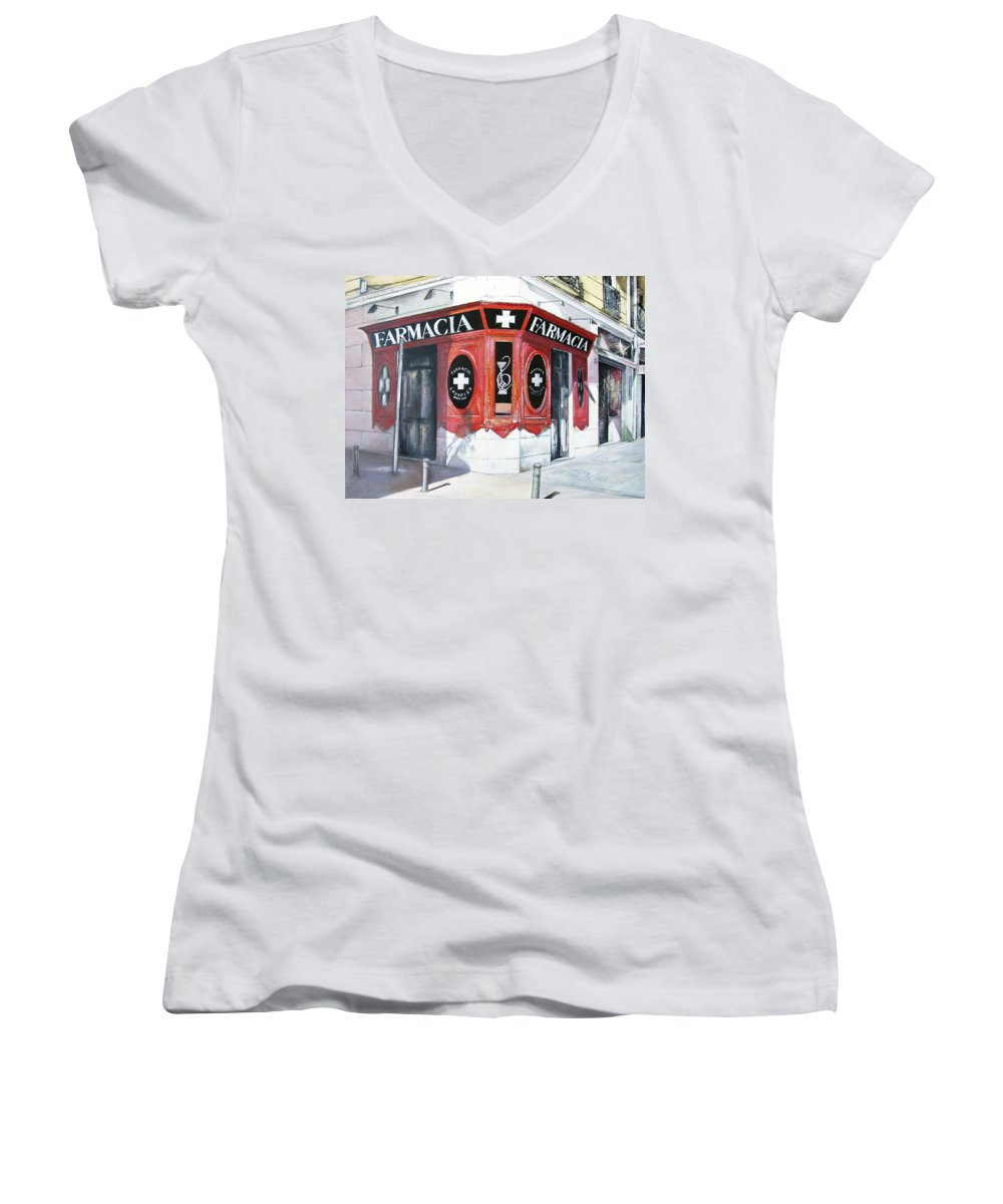 Pharmacy Women's V-Neck (Athletic Fit) featuring the painting Old Pharmacy by Tomas Castano
