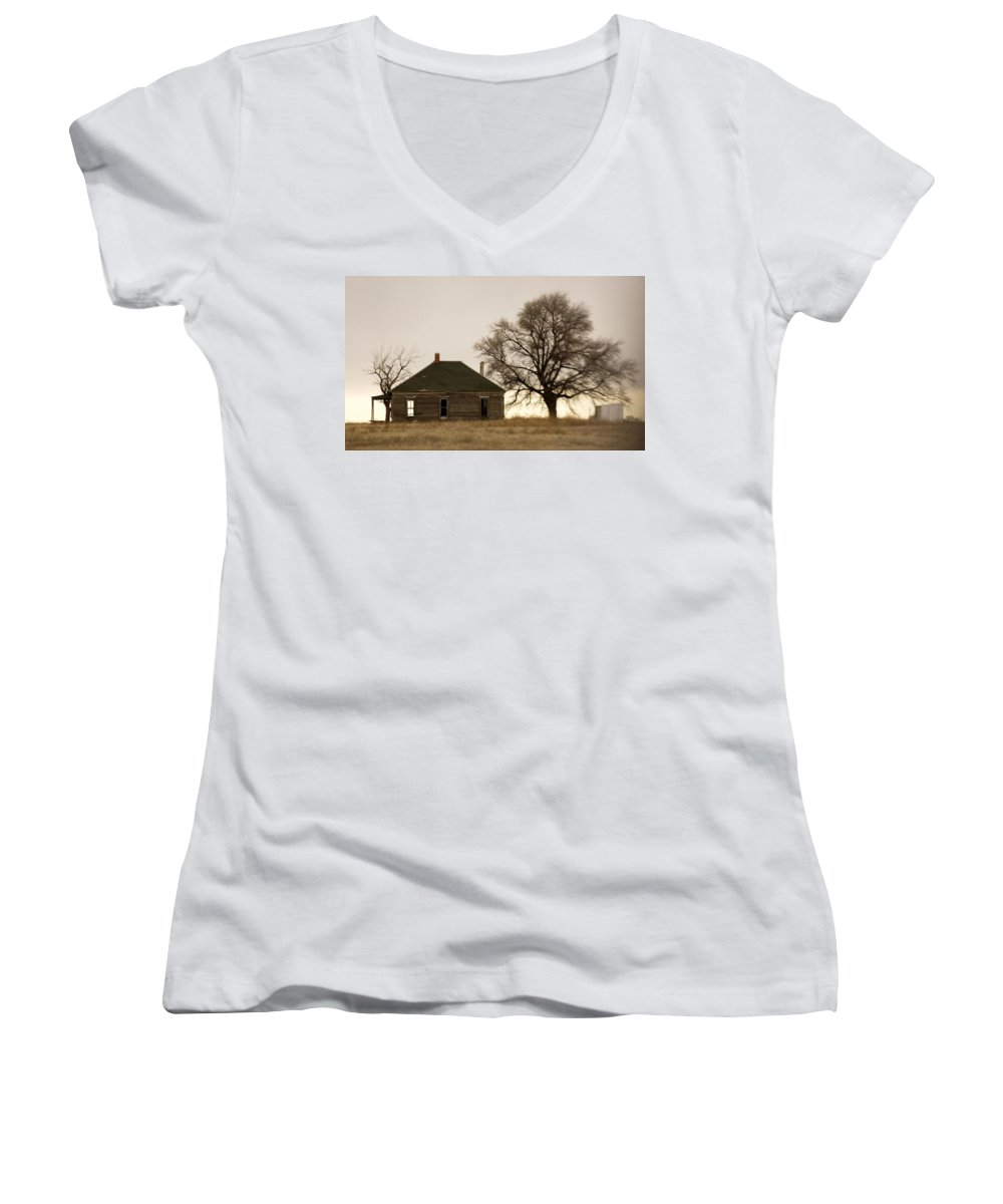 Americana Women's V-Neck (Athletic Fit) featuring the photograph Once Upon A Time In West Texas by Marilyn Hunt