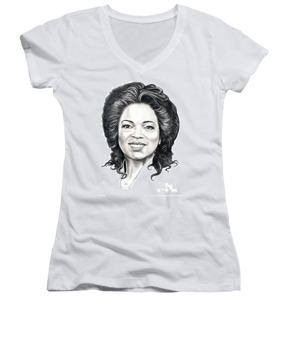 Oprah Women's V-Neck (Athletic Fit) featuring the drawing Oprah Winfrey by Murphy Elliott