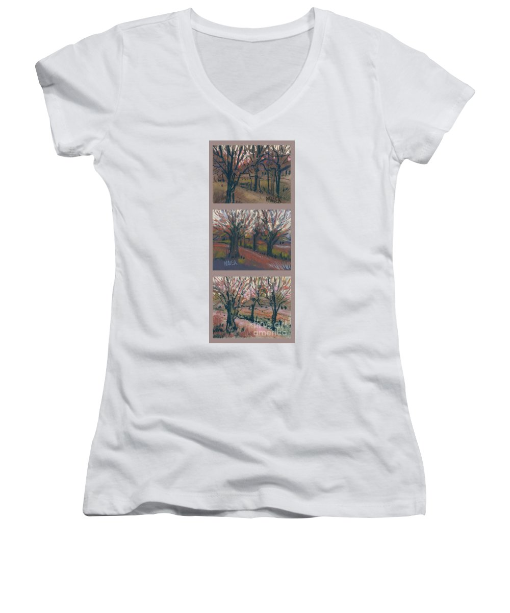 Pastel Women's V-Neck T-Shirt featuring the drawing Orchard Sunset by Donald Maier