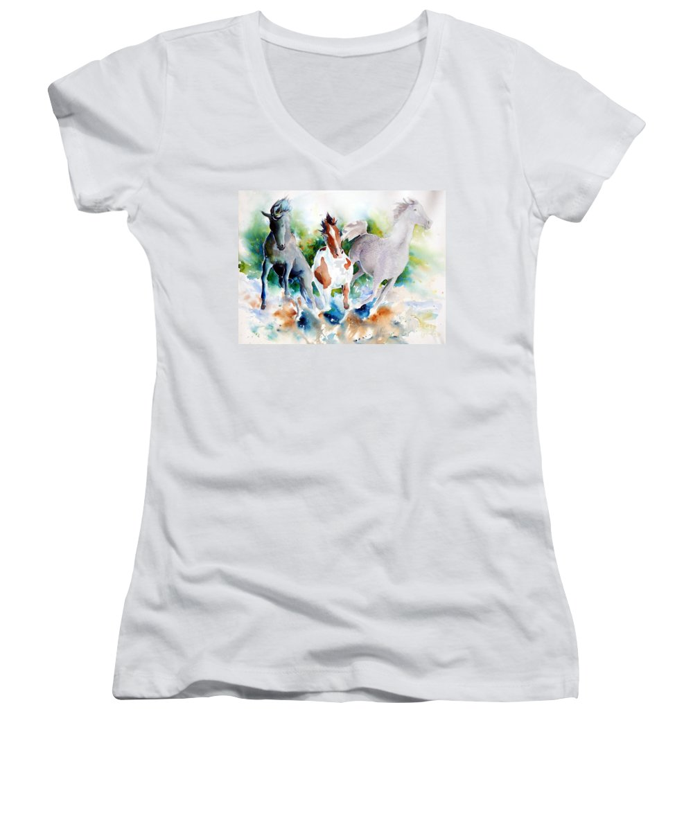 Horses Women's V-Neck (Athletic Fit) featuring the painting Out Of Nowhere by Christie Michelsen