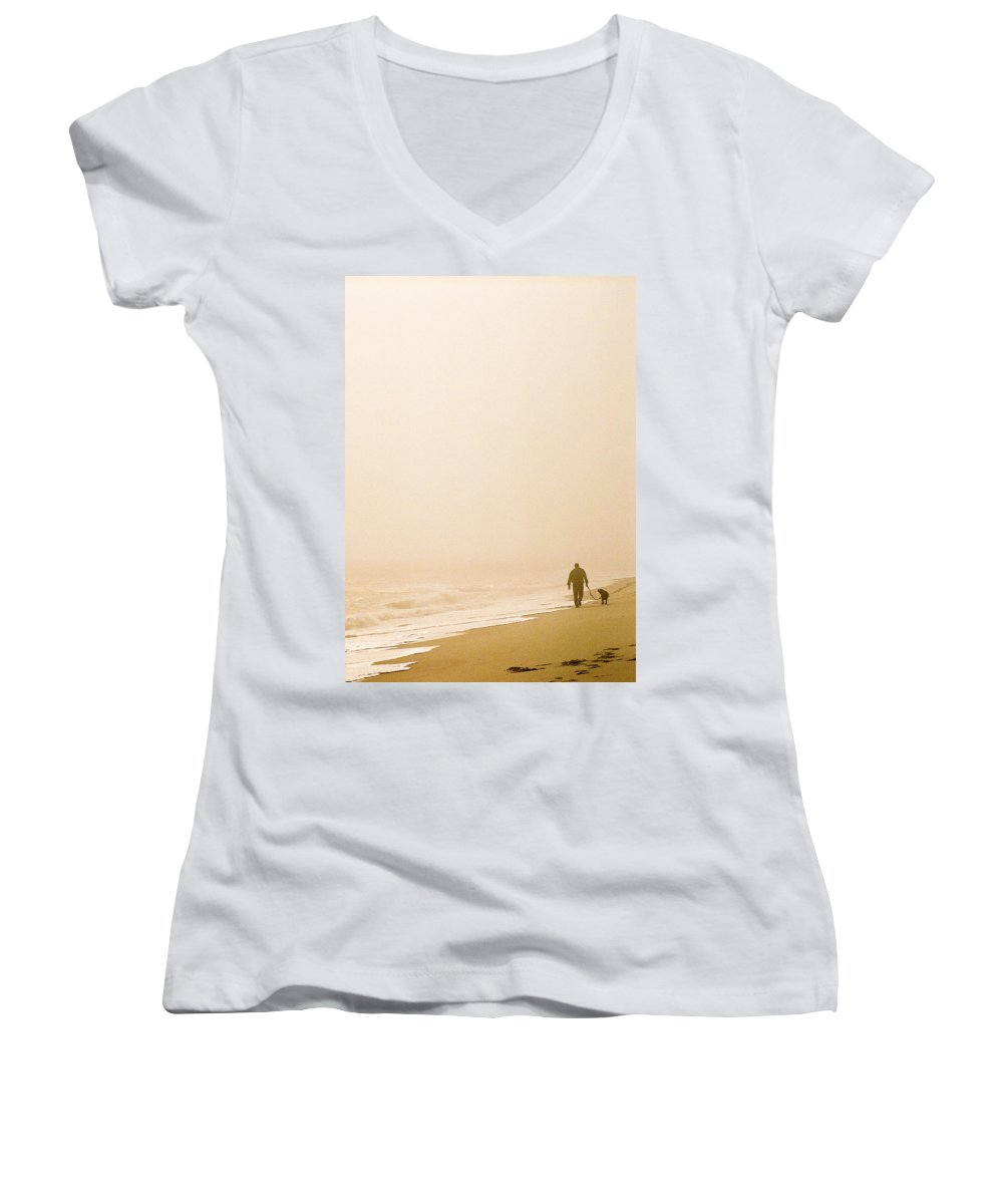 Landscape Women's V-Neck T-Shirt featuring the photograph Out Of The Mist by Steve Karol