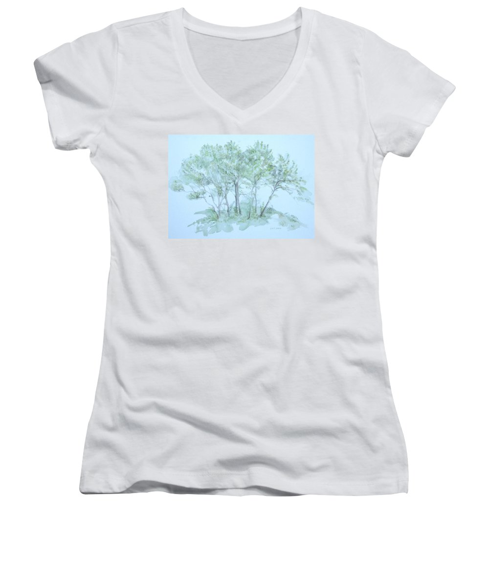 Trees Women's V-Neck T-Shirt (Junior Cut) featuring the painting Outer Banks by Leah Tomaino