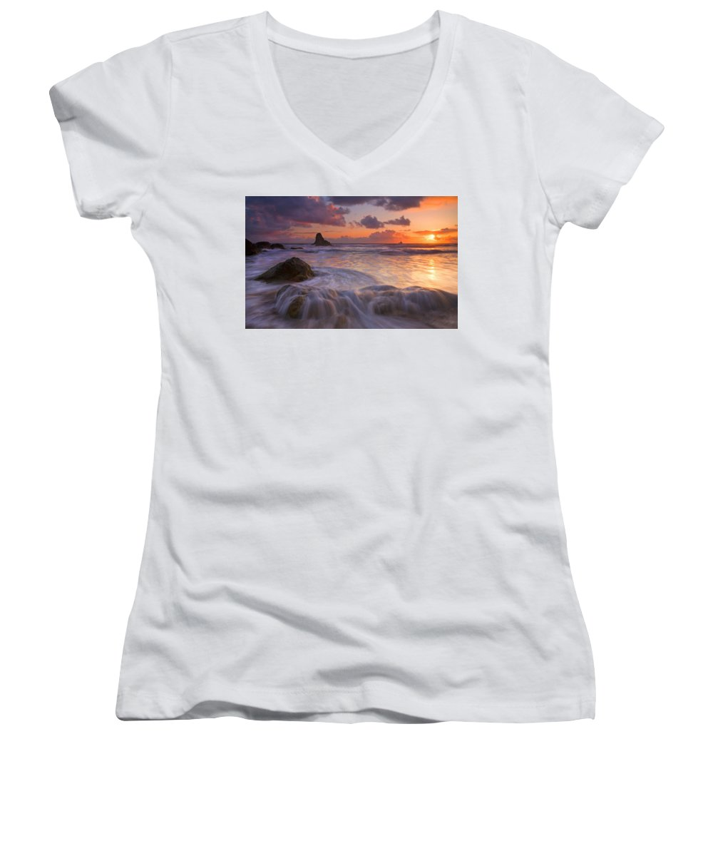 Sunset Women's V-Neck T-Shirt featuring the photograph Overcome by Mike Dawson