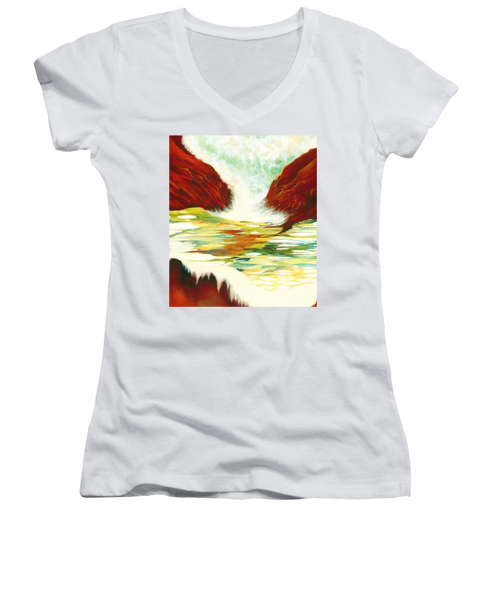 Oil Women's V-Neck (Athletic Fit) featuring the painting Overflowing by Peggy Guichu