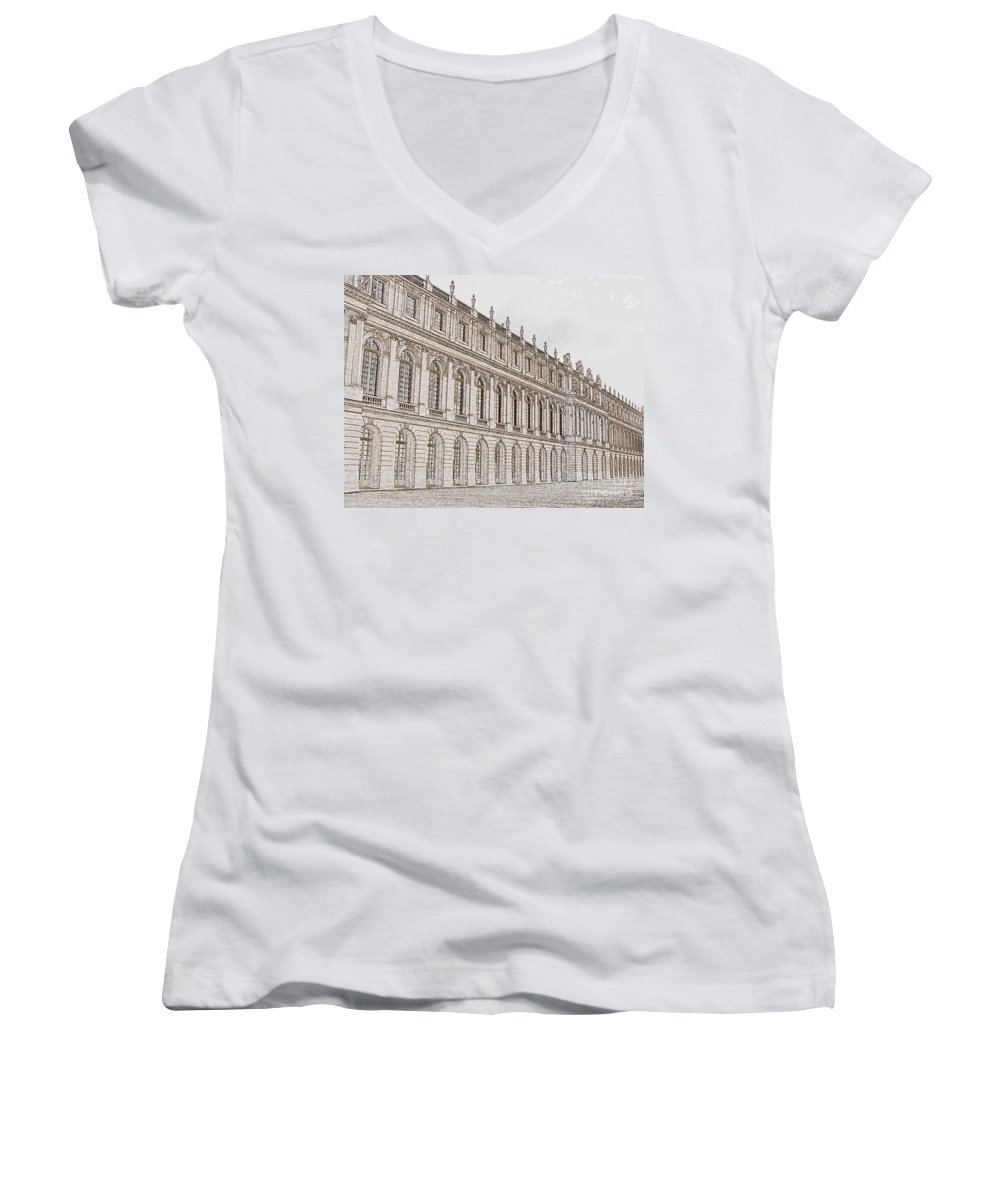 France Women's V-Neck (Athletic Fit) featuring the photograph Palace Of Versailles by Amanda Barcon