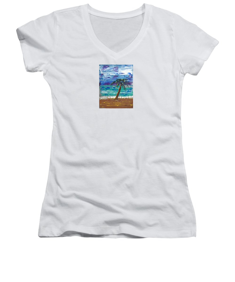 Impressionist Painting Women's V-Neck (Athletic Fit) featuring the painting Palm Beach by J R Seymour