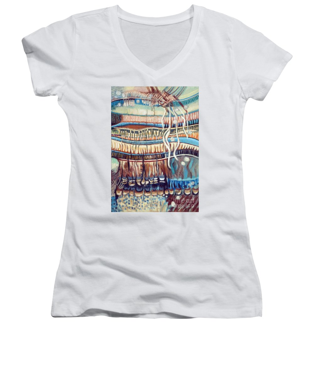 Abstract Women's V-Neck (Athletic Fit) featuring the painting Palm Contractions by Kerryn Madsen-Pietsch