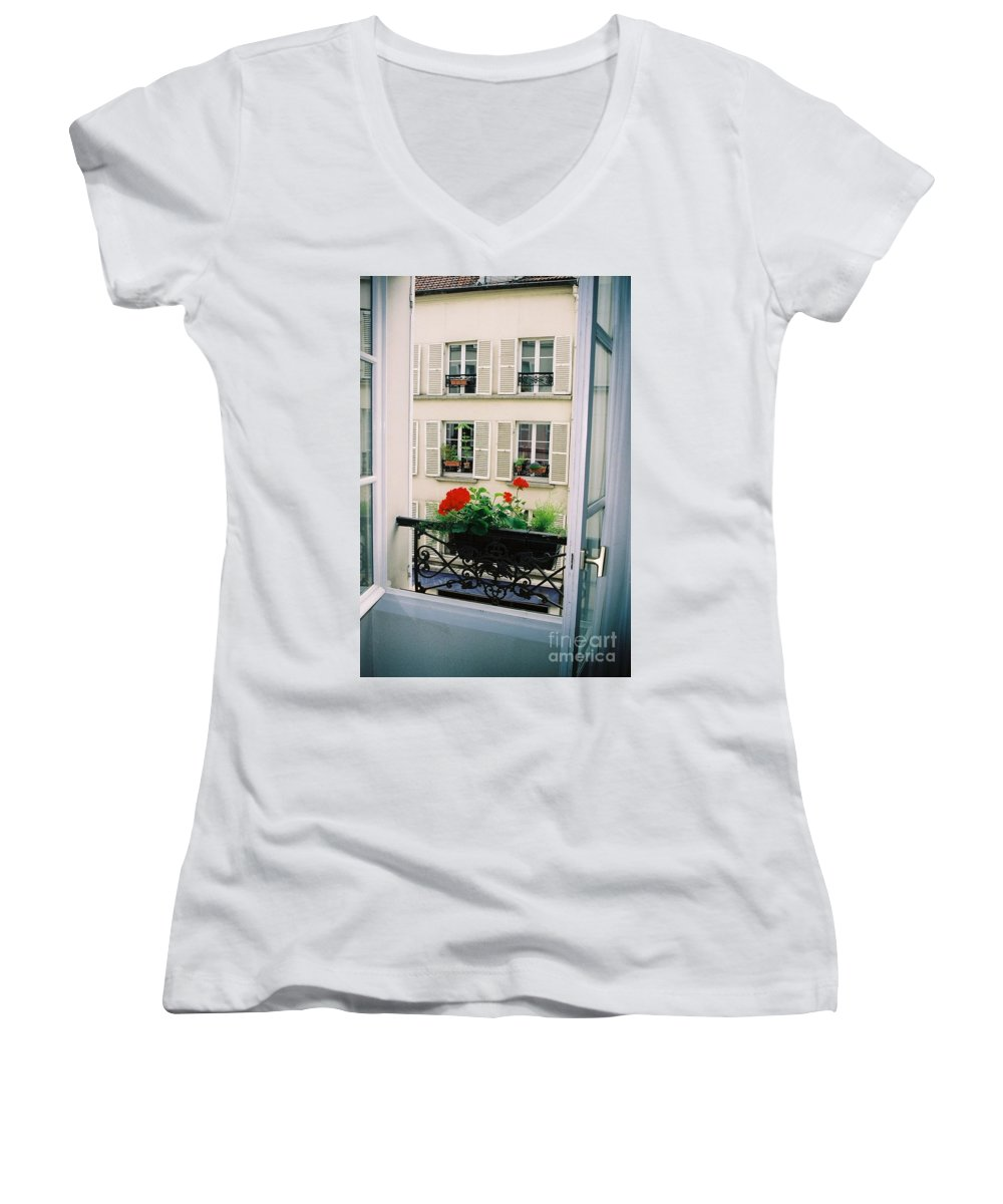 Window Women's V-Neck T-Shirt featuring the photograph Paris Day Windowbox by Nadine Rippelmeyer
