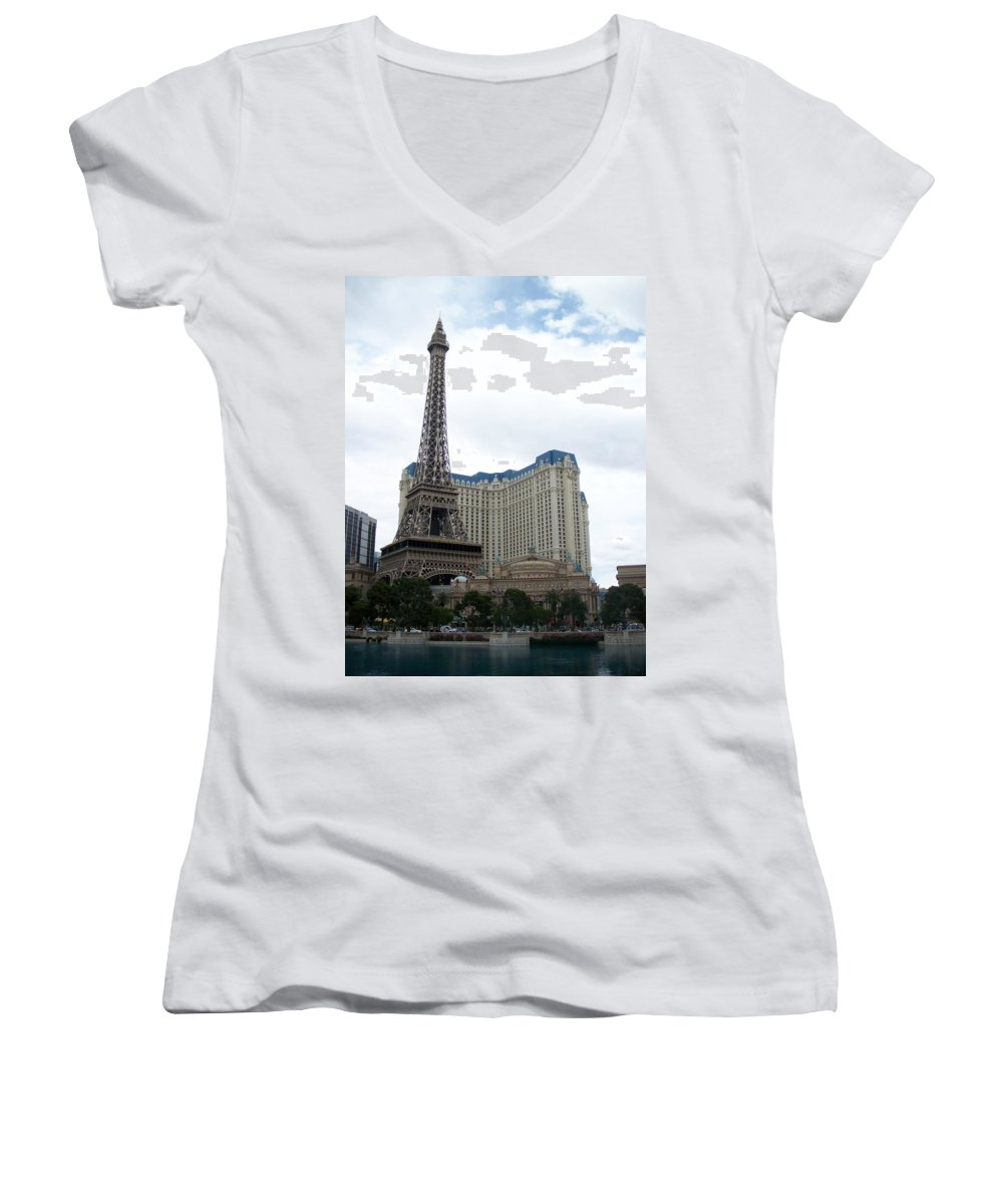 Bellagio Women's V-Neck (Athletic Fit) featuring the photograph Paris Hotel by Anita Burgermeister