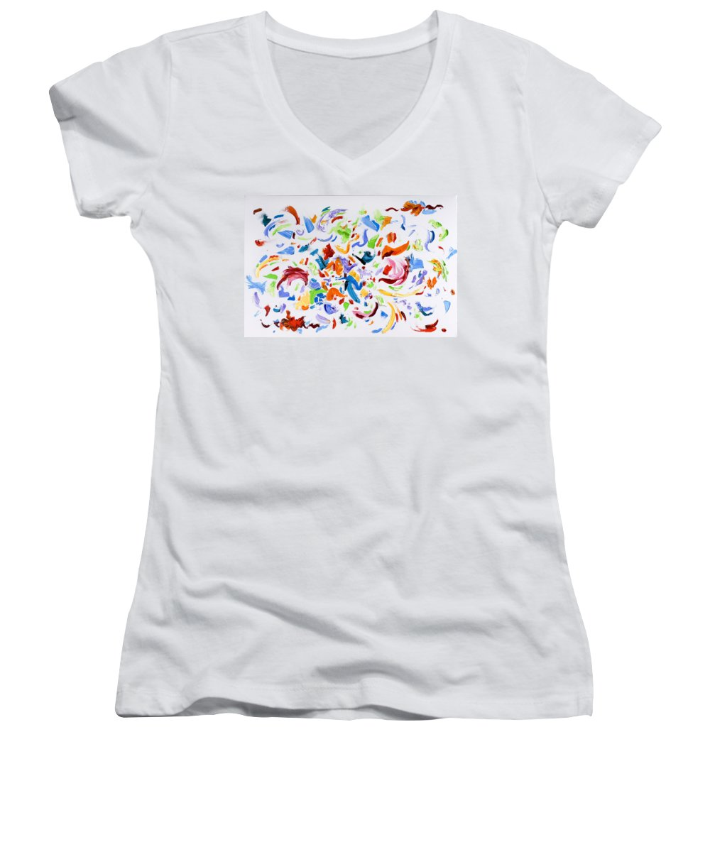 Red Women's V-Neck T-Shirt featuring the painting Party by Shannon Grissom