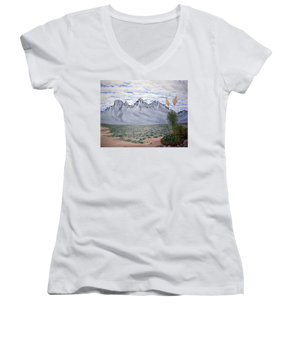 Desertscape Women's V-Neck (Athletic Fit) featuring the painting Pass Of The North by Marco Morales