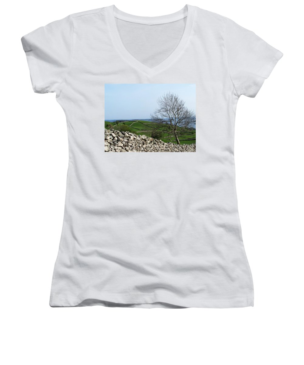 Irish Women's V-Neck (Athletic Fit) featuring the photograph Patchwork Quilt Lough Corrib Maam Ireland by Teresa Mucha