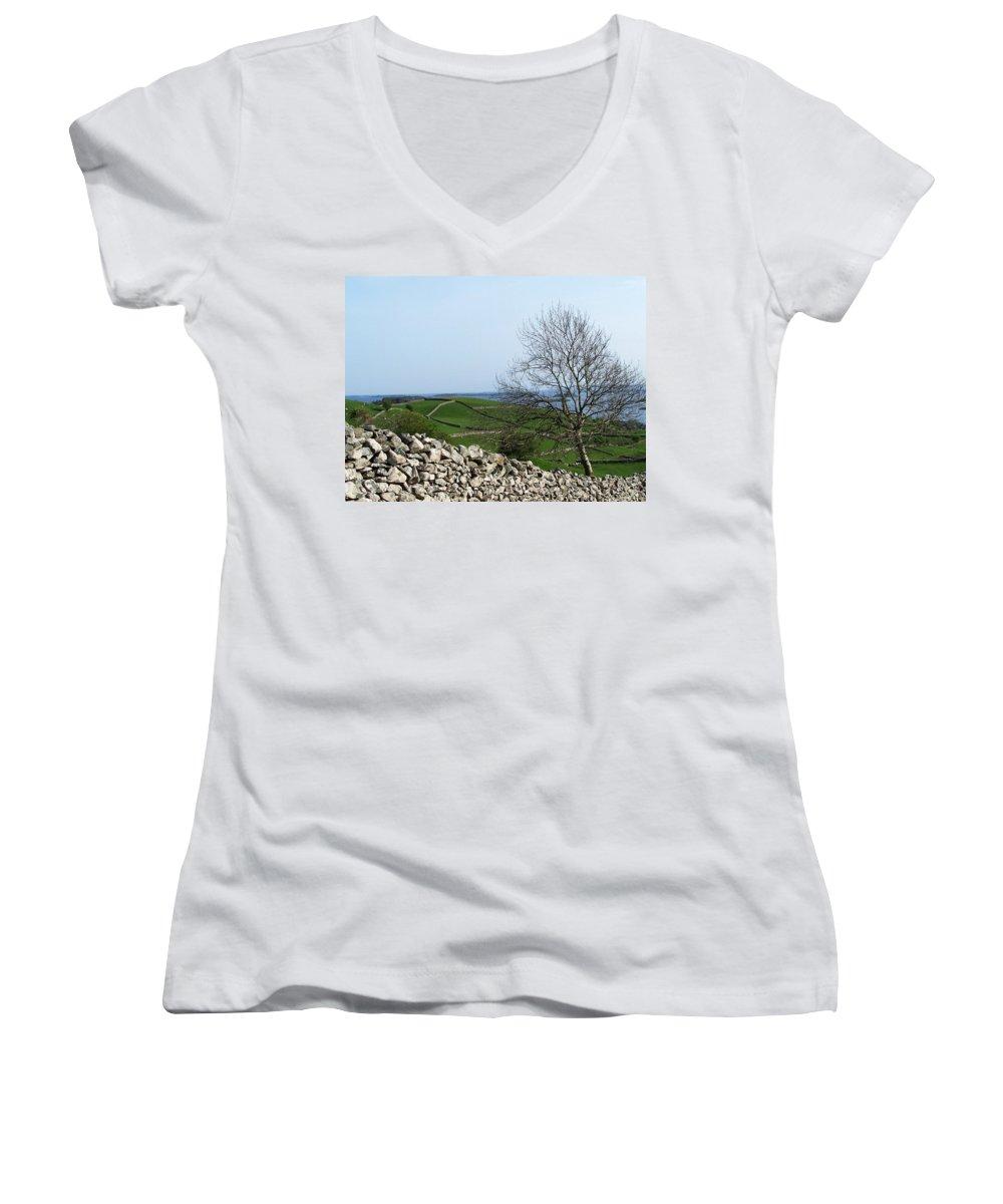 Irish Women's V-Neck T-Shirt featuring the photograph Patchwork Quilt Lough Corrib Maam Ireland by Teresa Mucha