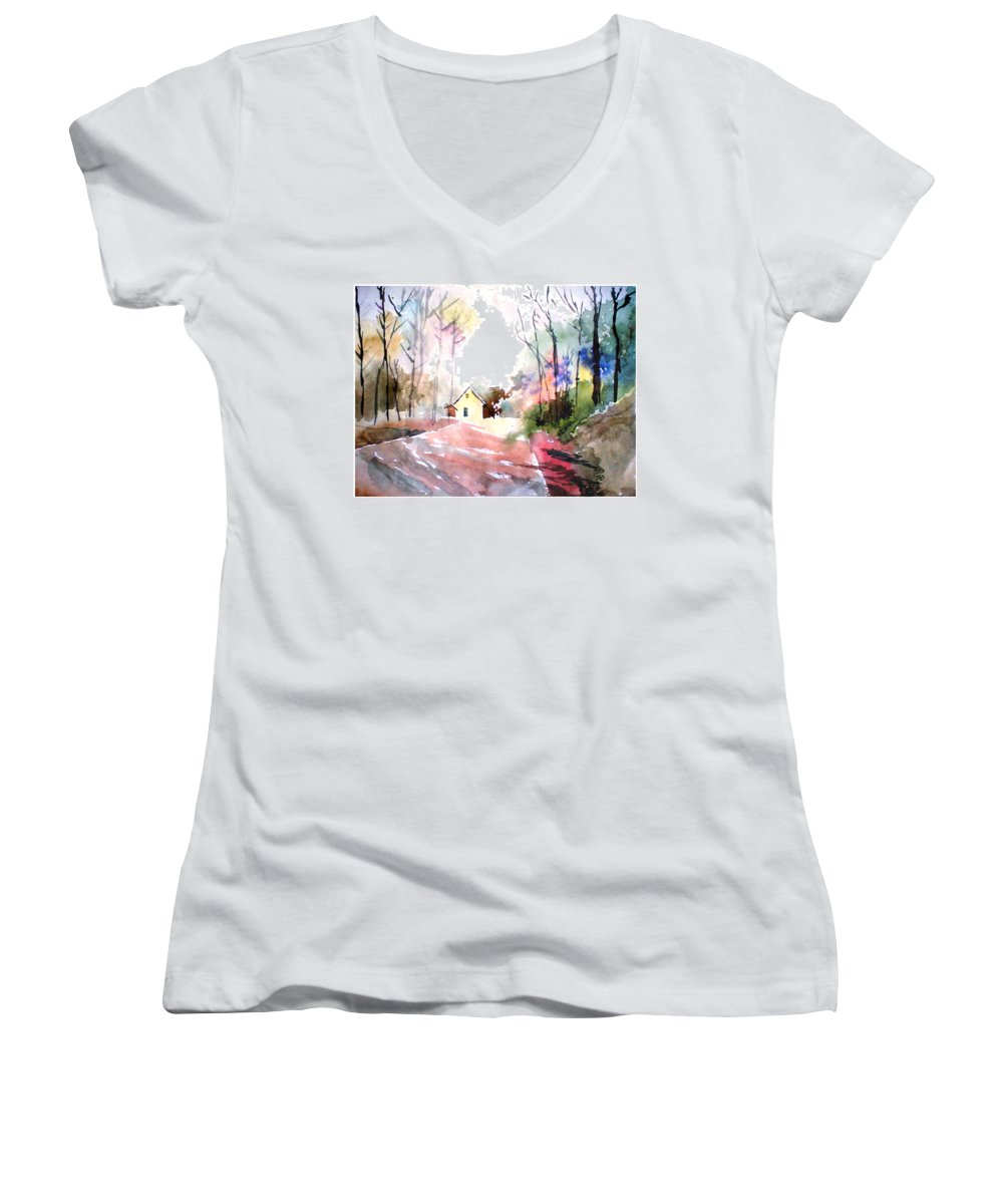 Nature Women's V-Neck T-Shirt featuring the painting Path In Colors by Anil Nene
