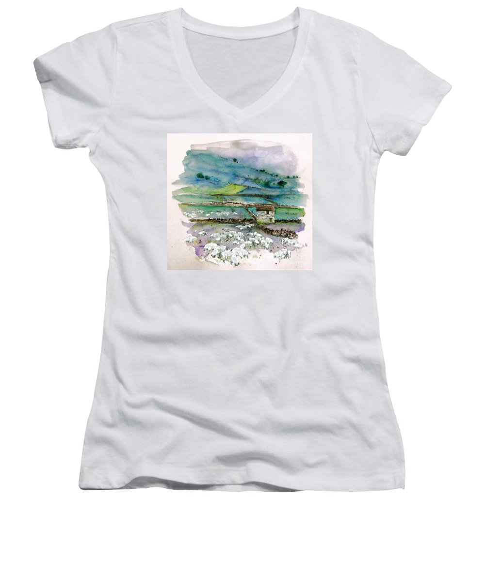 Paintings England Watercolour Travel Sketches Ink Drawings Art Landscape Paintings Town Women's V-Neck (Athletic Fit) featuring the painting Peak District Uk Travel Sketch by Miki De Goodaboom