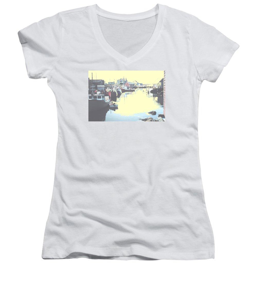 Nova Scotia Women's V-Neck T-Shirt featuring the photograph Peggy by Ian MacDonald