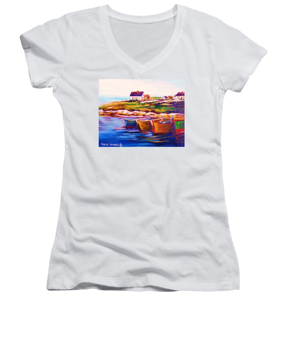 Row Boats Women's V-Neck T-Shirt featuring the painting Peggys Cove Four Row Boats by Carole Spandau