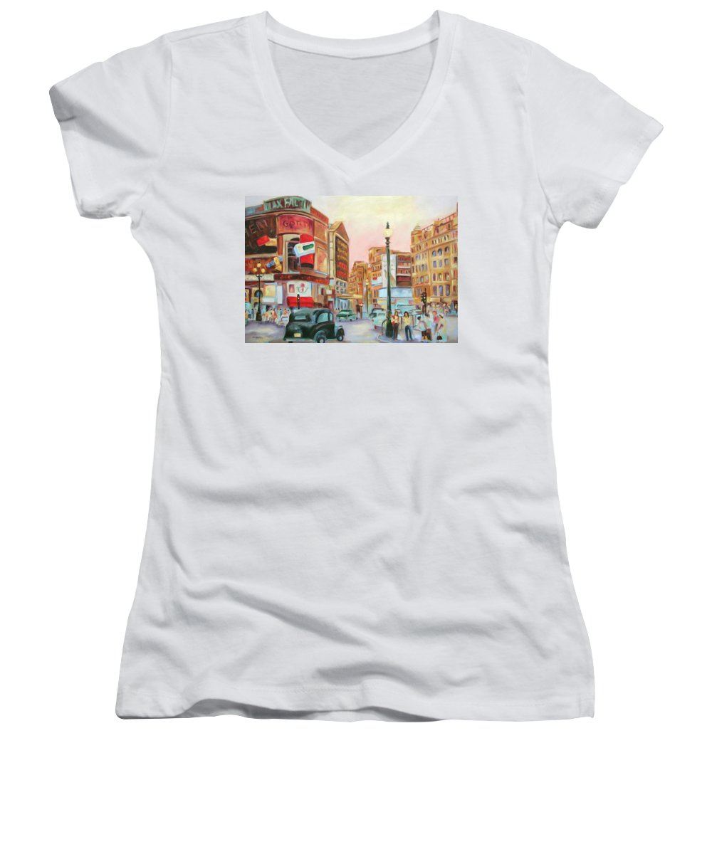 Cityscape Women's V-Neck (Athletic Fit) featuring the painting Picadilly by Ginger Concepcion