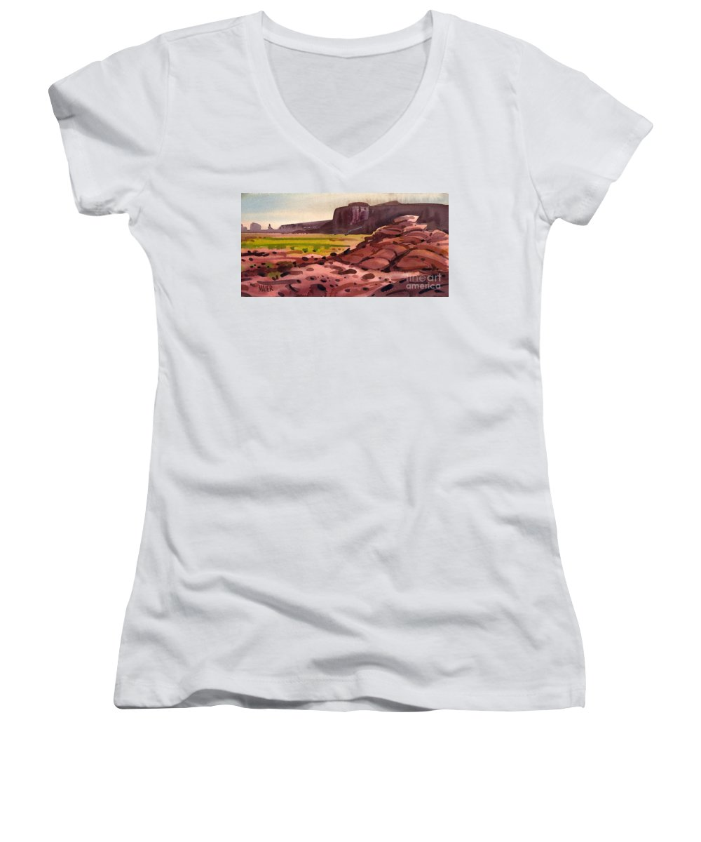 Monument Valley Women's V-Neck T-Shirt featuring the painting Pillow Rocks by Donald Maier