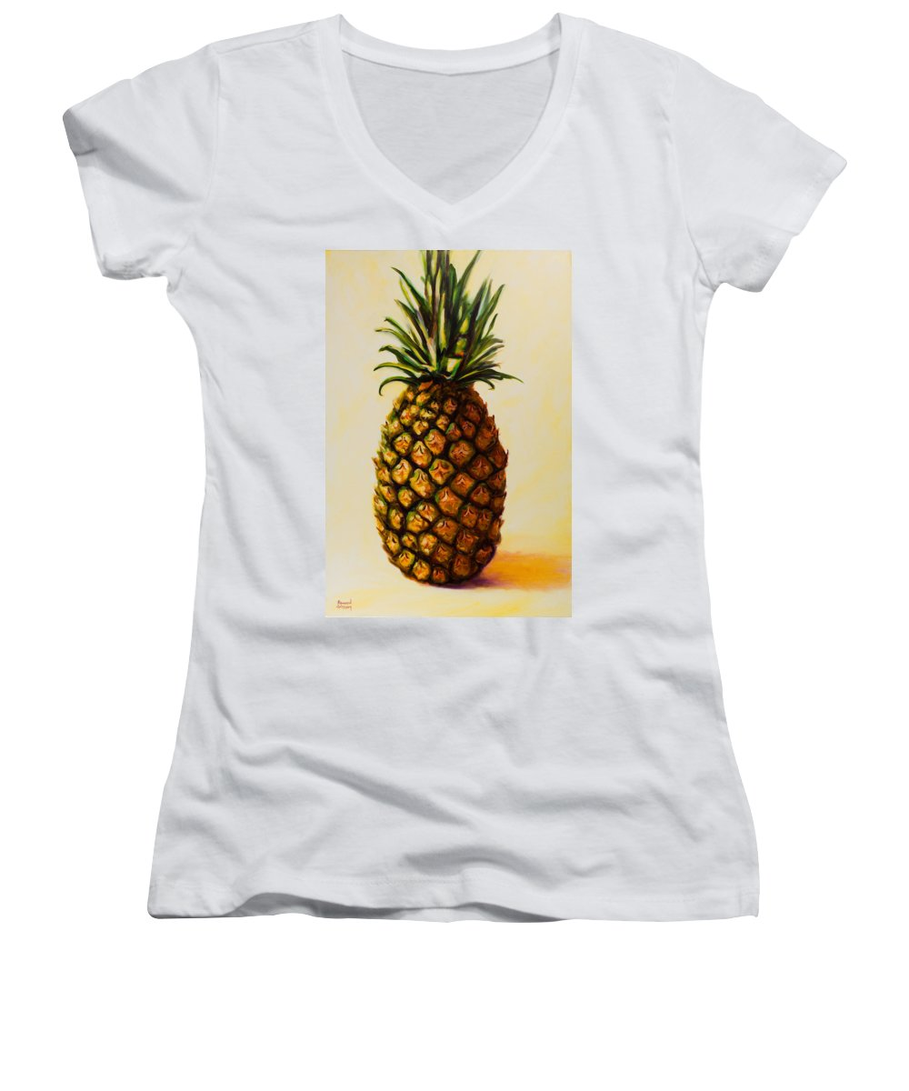 Pineapple Women's V-Neck T-Shirt (Junior Cut) featuring the painting Pineapple Angel by Shannon Grissom