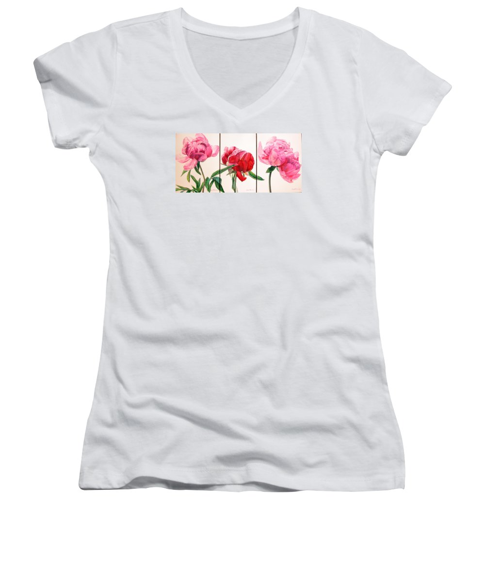 Floral Painting Women's V-Neck (Athletic Fit) featuring the painting Pivoines by Muriel Dolemieux