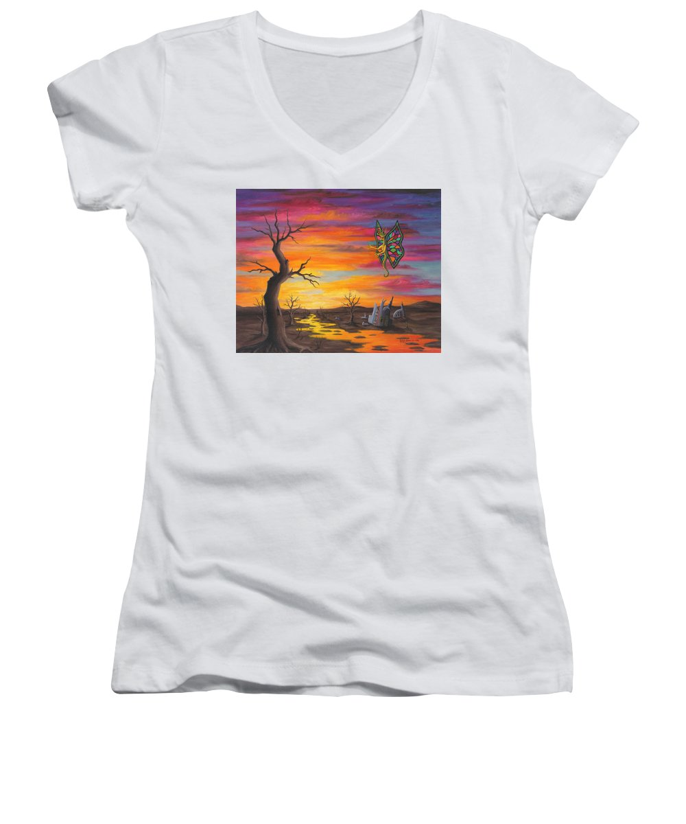 Fantasy Women's V-Neck T-Shirt (Junior Cut) featuring the painting Planet Px7 by Roz Eve