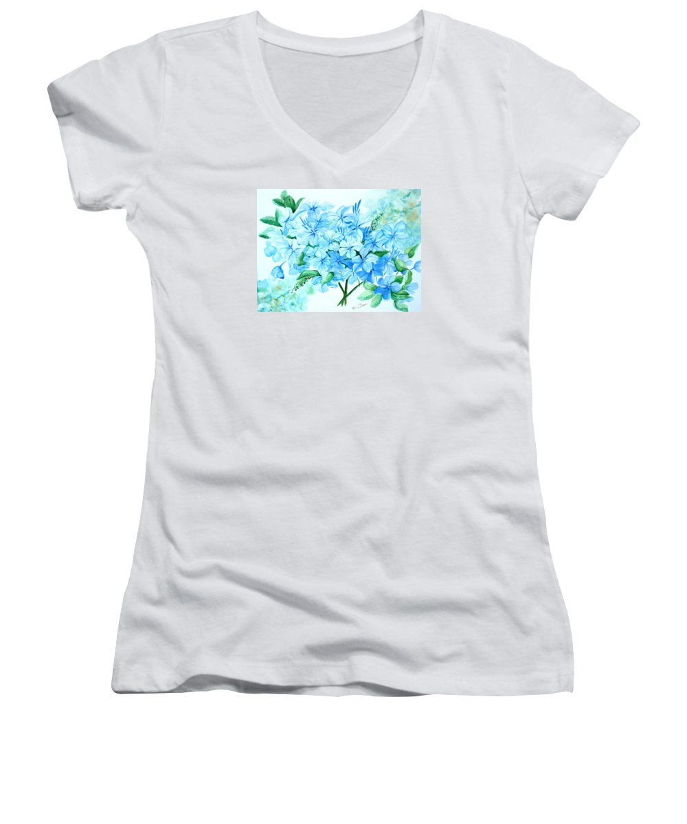 Floral Blue Painting Plumbago Painting Flower Painting Botanical Painting Bloom Blue Painting Women's V-Neck T-Shirt featuring the painting Plumbago by Karin Dawn Kelshall- Best