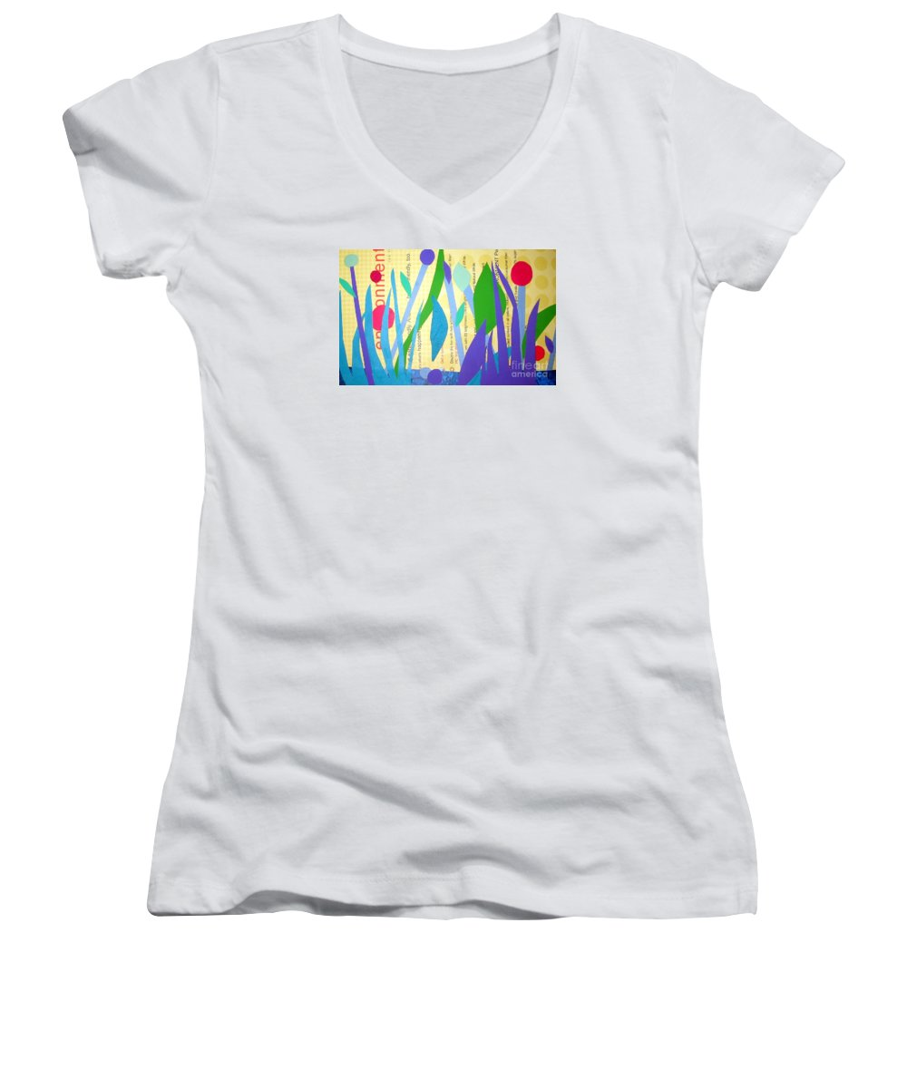 Landscape Women's V-Neck (Athletic Fit) featuring the mixed media Pond Life by Debra Bretton Robinson