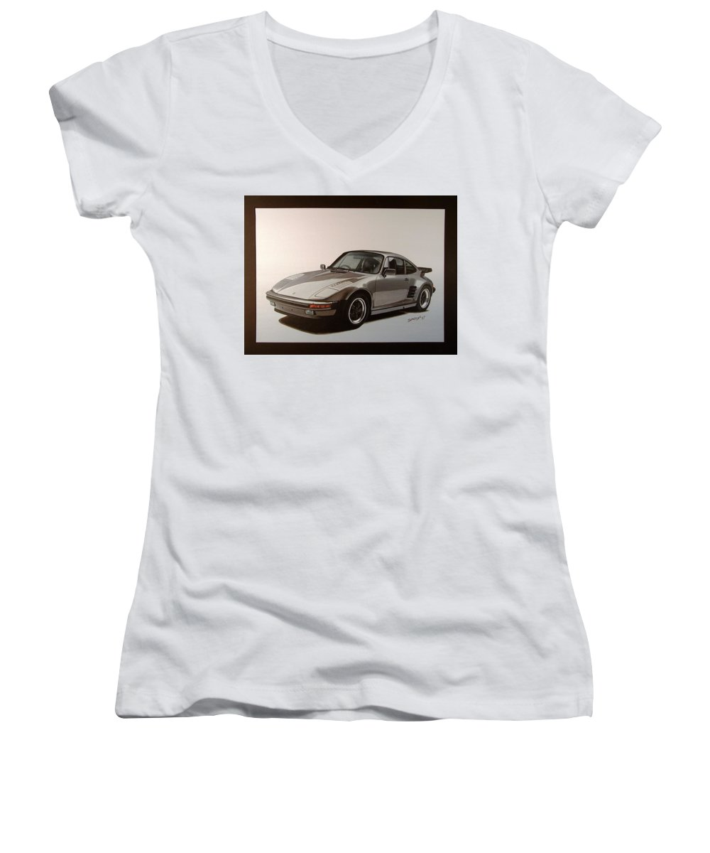 Car Women's V-Neck T-Shirt featuring the painting Porsche by Shawn Stallings