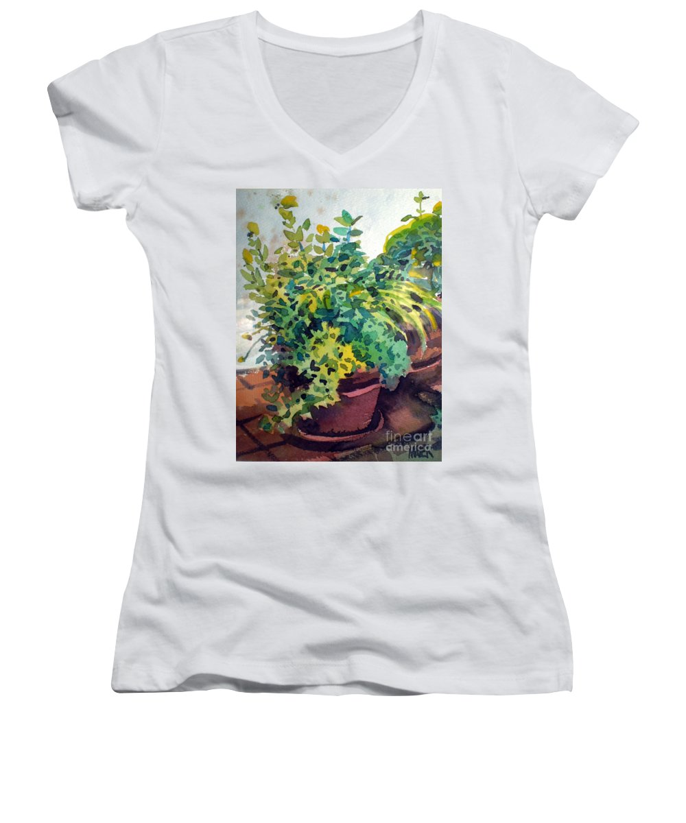 Herbs Women's V-Neck T-Shirt featuring the painting Potted Herbs by Donald Maier