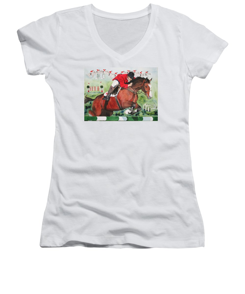 Horse Women's V-Neck (Athletic Fit) featuring the painting Practice Makes Perfect by Jean Blackmer