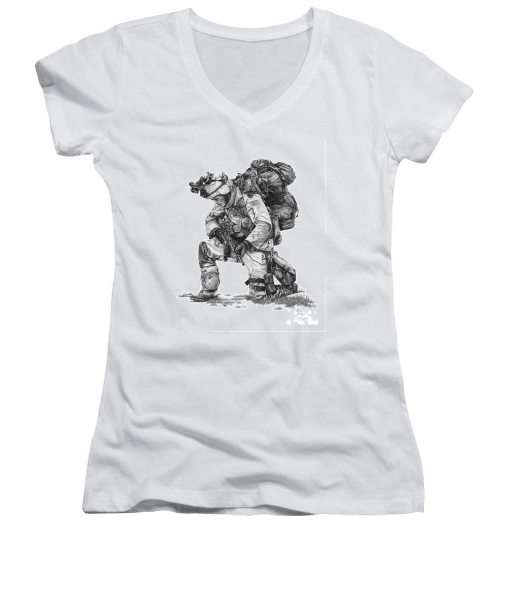 Pencil Women's V-Neck T-Shirt featuring the drawing Praying Soldier by Murphy Elliott