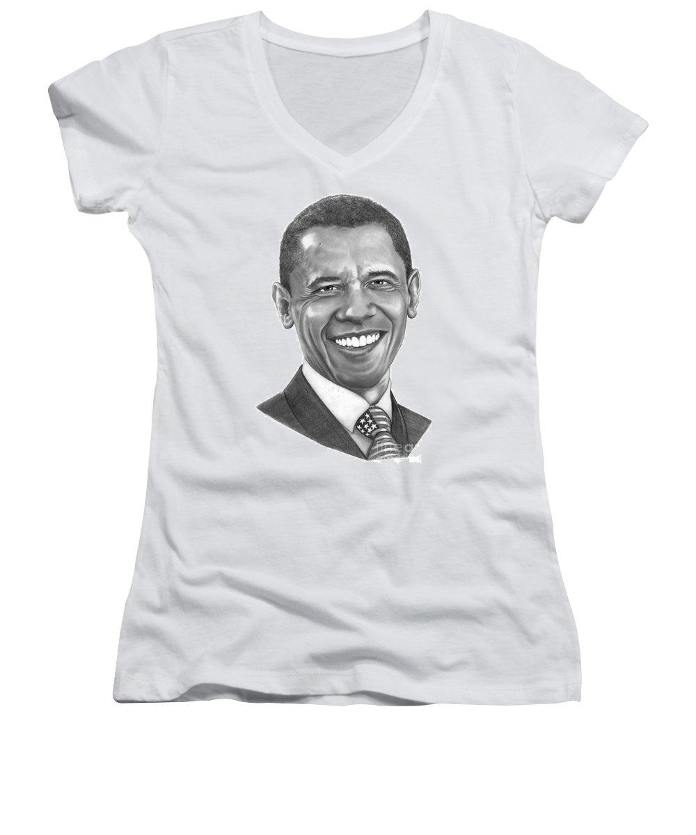 Drawing Women's V-Neck T-Shirt featuring the drawing President Barack Obama By Murphy Art. Elliott by Murphy Elliott