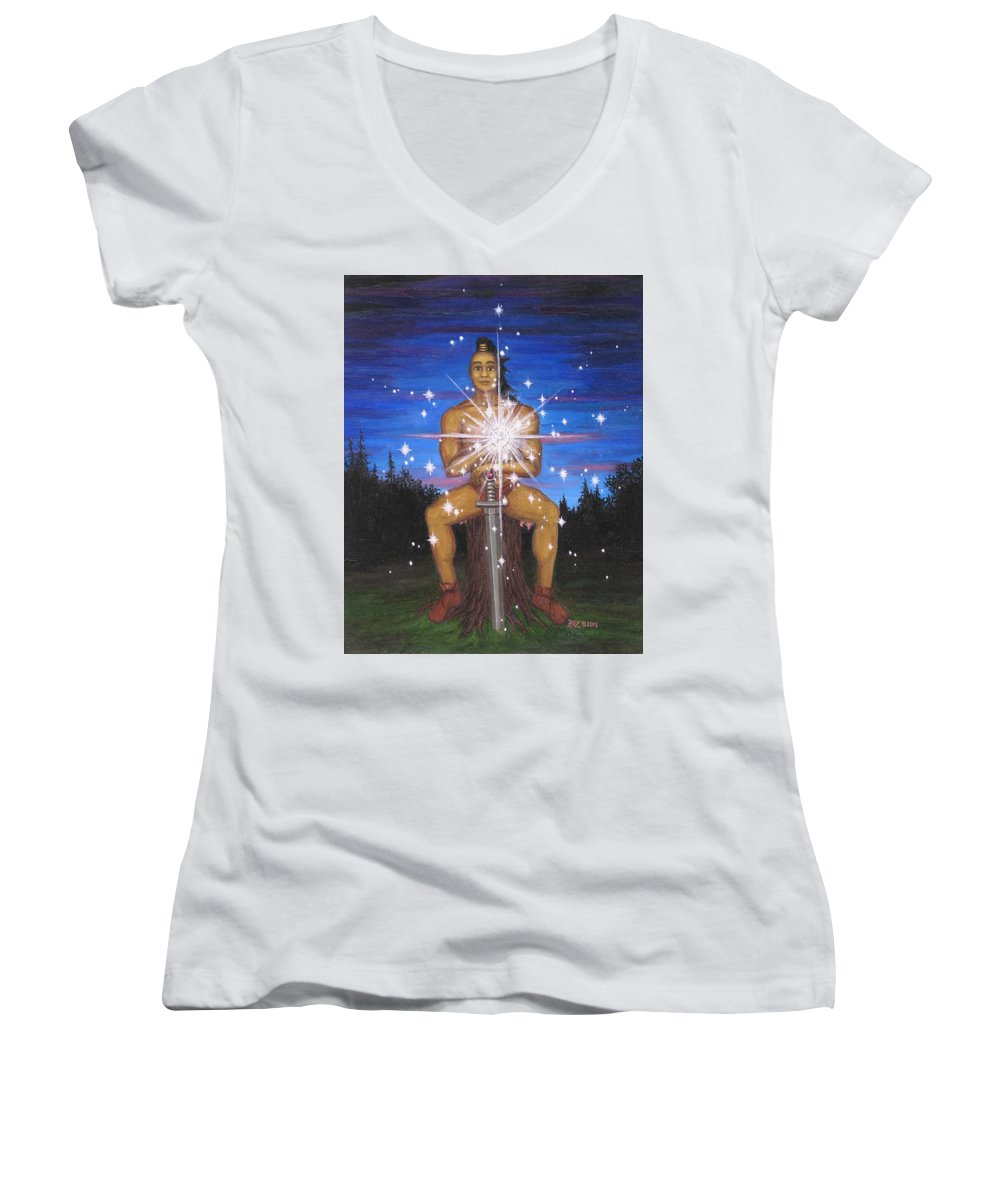 Fantasy Women's V-Neck T-Shirt featuring the painting Protector Of The Mystical Forest by Roz Eve
