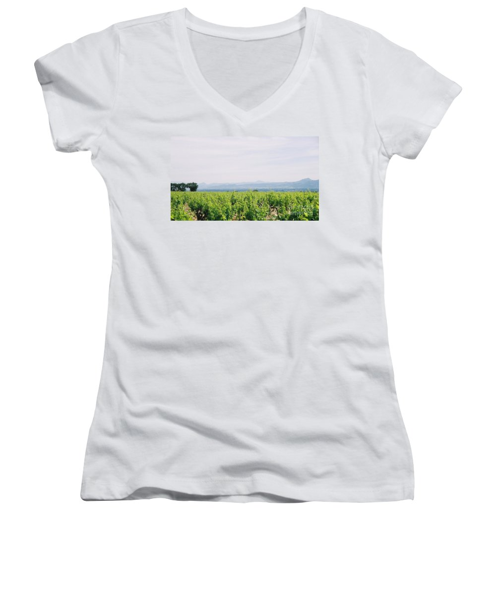 France Women's V-Neck (Athletic Fit) featuring the photograph Provence Spring Vineyard by Nadine Rippelmeyer