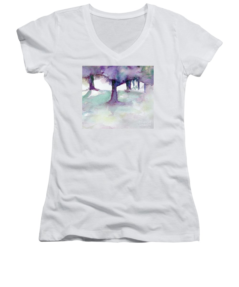 Landscape Women's V-Neck (Athletic Fit) featuring the painting Purplescape II by Jan Bennicoff