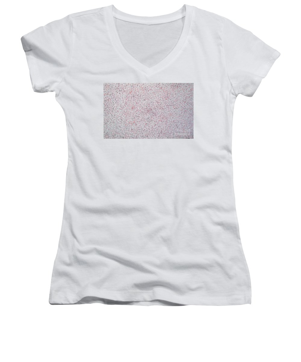 Abstract Women's V-Neck T-Shirt featuring the painting Radiation With Black And Red by Dean Triolo