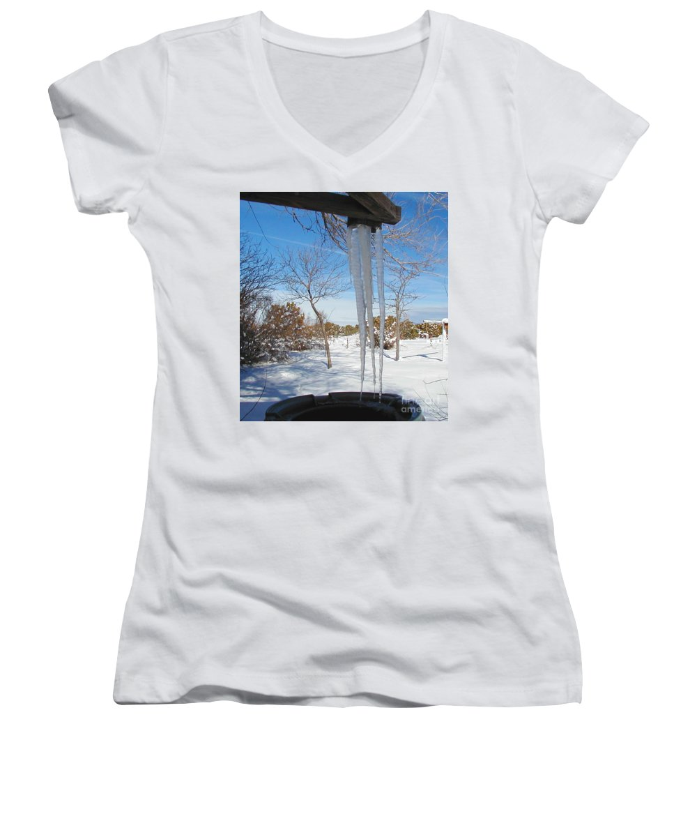 Icicle Women's V-Neck (Athletic Fit) featuring the photograph Rain Barrel Icicle by Diana Dearen