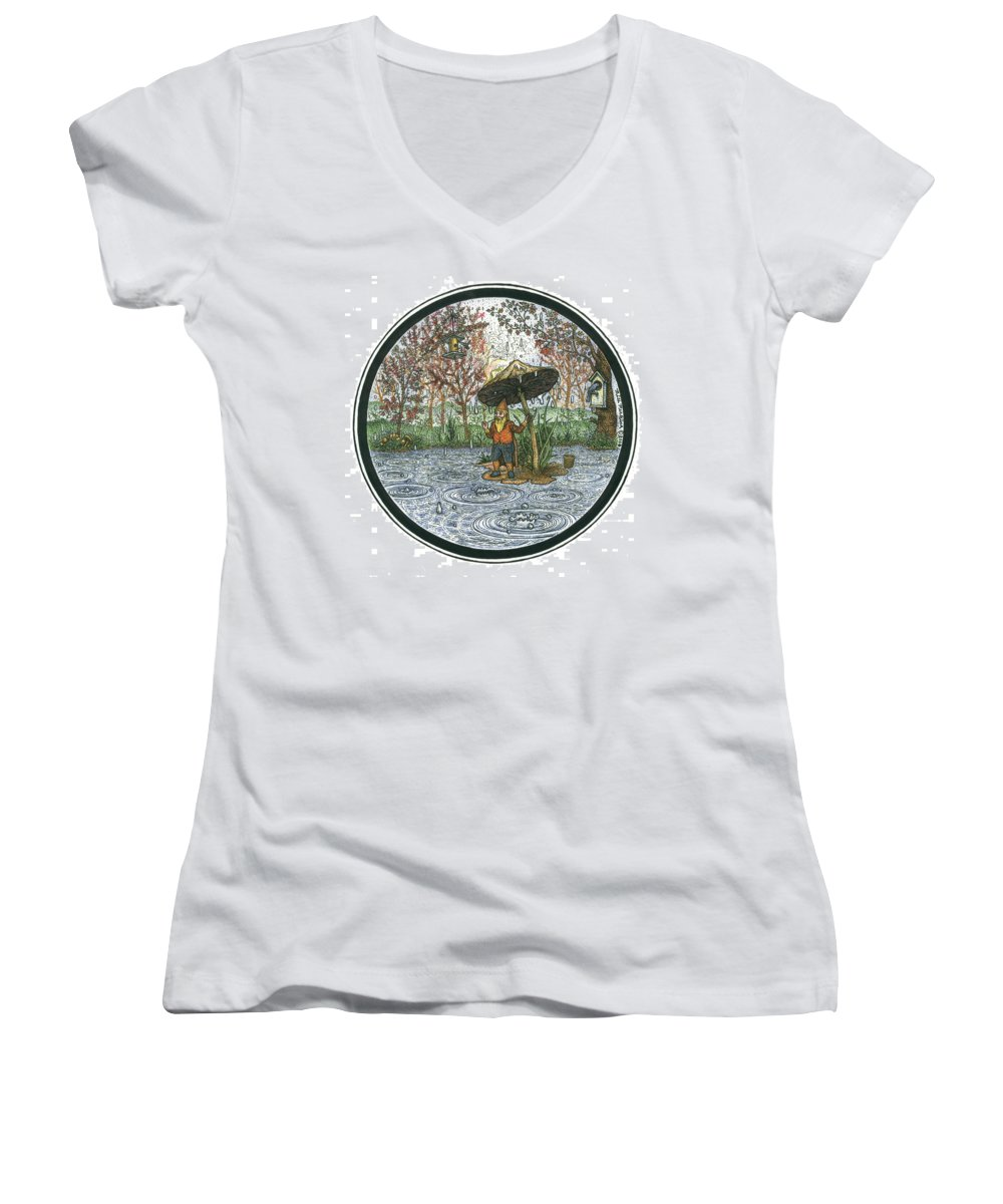 Rain Women's V-Neck (Athletic Fit) featuring the drawing Rain Gnome Rain Circle by Bill Perkins