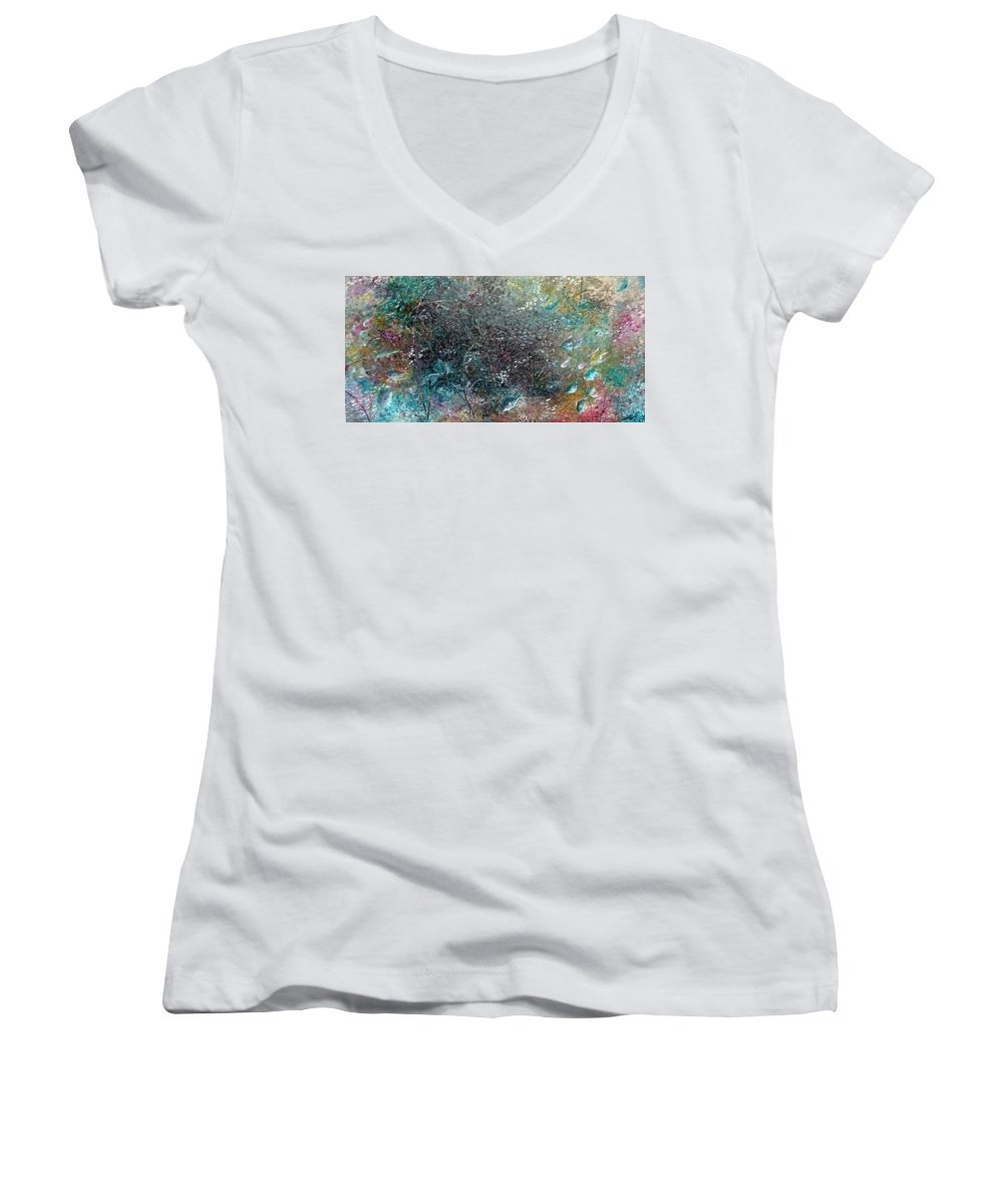 Original Abstract Painting Of Under The Sea Women's V-Neck (Athletic Fit) featuring the painting Rainbow Reef by Karin Dawn Kelshall- Best