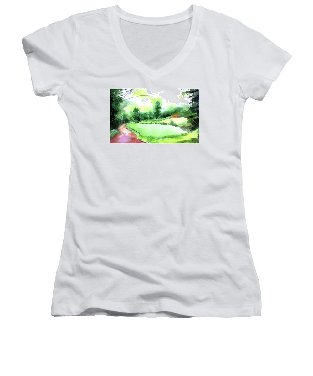 Landscape Women's V-Neck T-Shirt featuring the painting Rains In West by Anil Nene