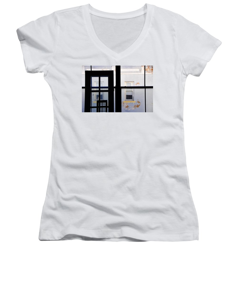 Architecture Women's V-Neck T-Shirt featuring the photograph Rear Window 3 by Skip Hunt