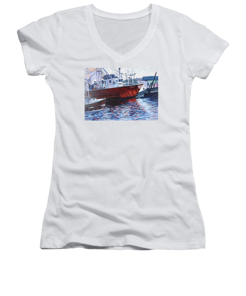 Boats Women's V-Neck T-Shirt featuring the painting Red Boats by Richard Nowak